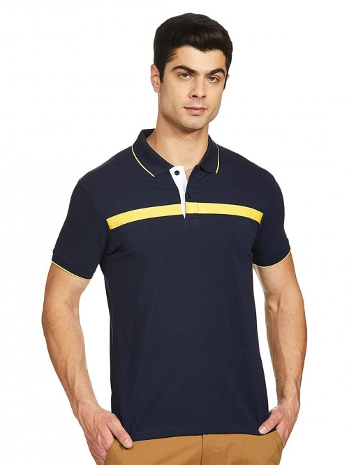 Pepe Jeans Solid Navy Casual Polo T-shirt