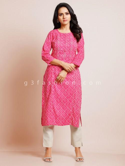 Pink Casual Wear Cotton Kurti For Women