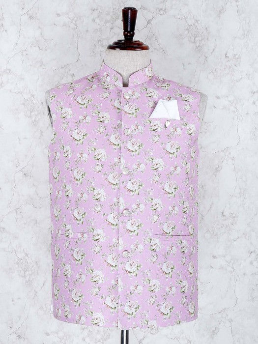 Pink Color Flower Printed Terry Rayon Waistcoat