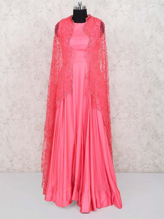 Pink Color Party Wear Gown In Jacket Style