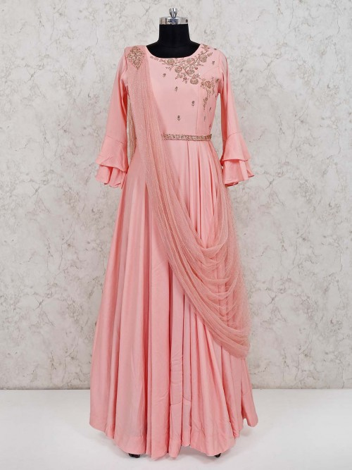 Pink Cotton Floor Length Anarkali Salwar Kameez