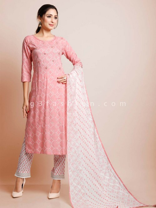 Pink Mirror Inflated Cotton Pant Suit For Festive