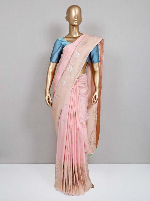 Pink Wedding Wear Semi Silk Sari