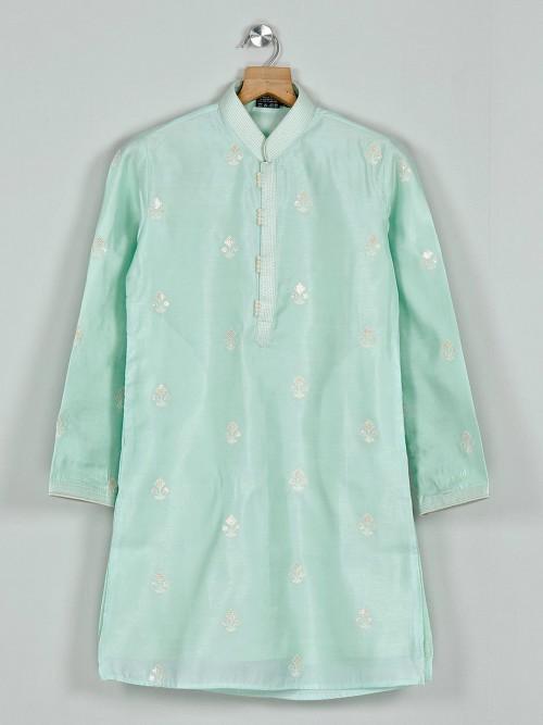 Pista Green Boys Kurta Suit In Cotton Silk