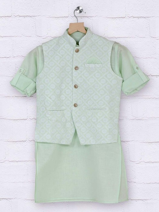 Pista Green Cotton Boys Waistcoat Set