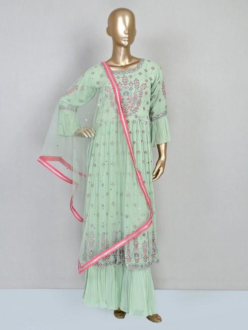 Pista Green Festive Sharara Suit