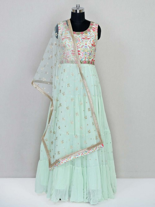 Pista Green Georgette Designer Lehenga Choli For Wedding