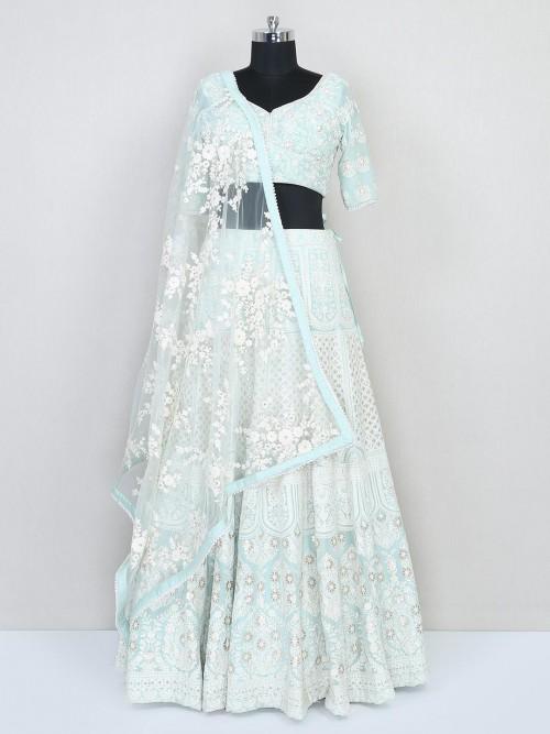 Pista Green Organza Tissue Wedding Lehenga