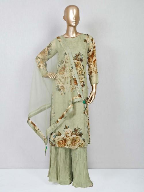 Pista Green Printed Palazzo Suit