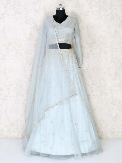 Powder Blue Organza Tissue Silk Lehenga Choli