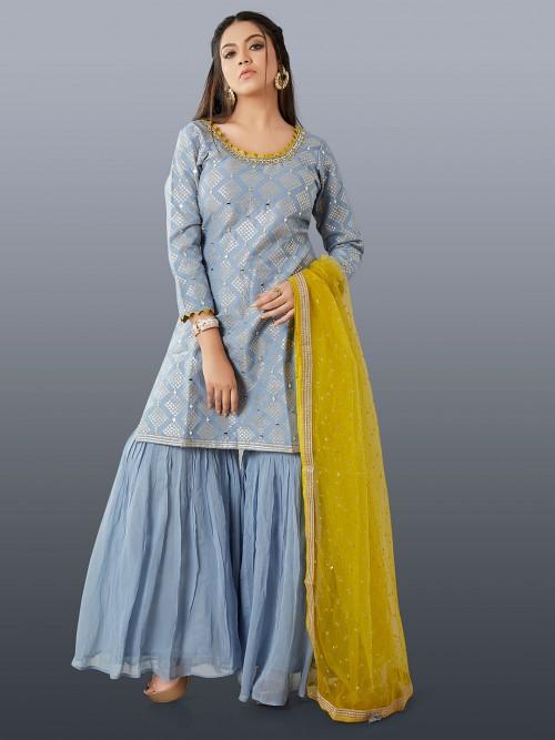 Powder Blue Wedding Wear Sharara Suit