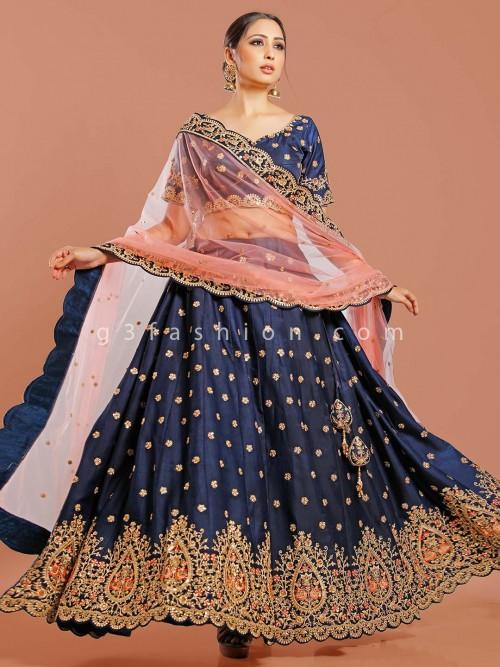 Premium Navy Silk Semi Stitched Lehenga Choli