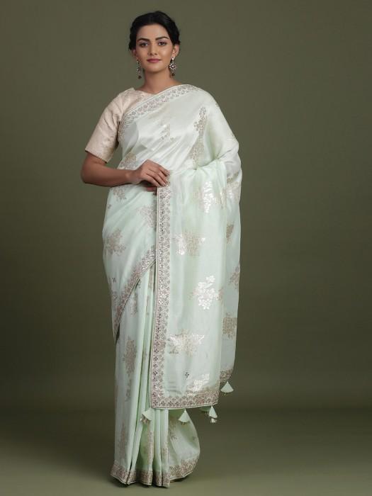 Pretty Sea Green Saree In Silk For Wedding