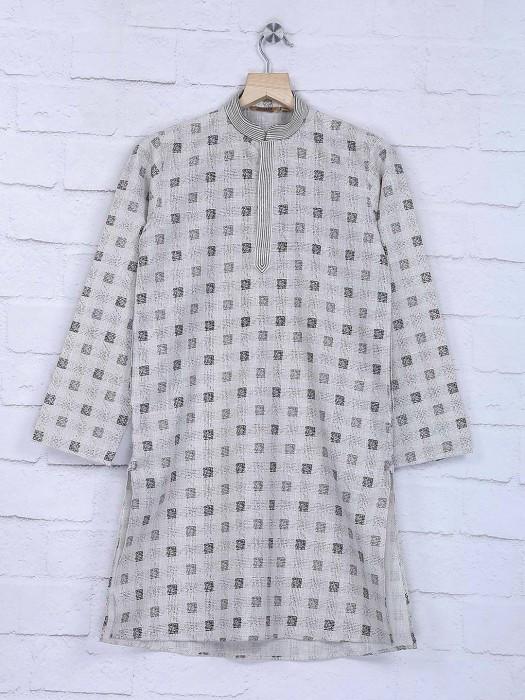 Printed Cotton Cream Color Kurta Suit