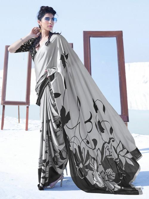 Printed Grey Festive Wear Satin Saree