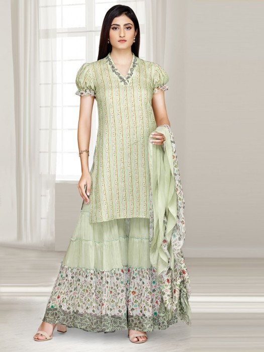 Printed Light Green Cotton Punjabi Sharara Suit