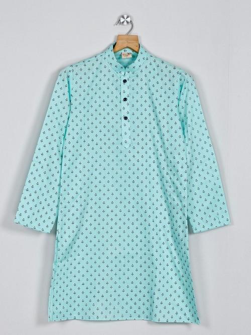 Printed Sea Green Cotton Kurta Suit