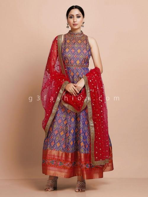 Purple Anarkali Kurti With Odhani In Patola Silk For Wedding