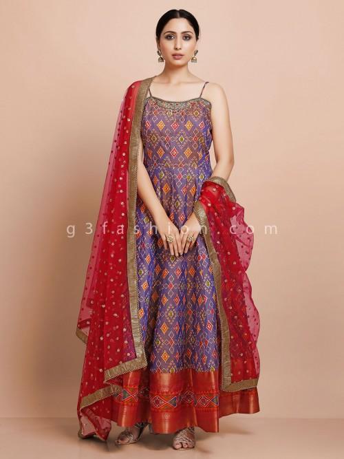 Purple Designer Anarkali Suit For Wedding In Patola Silk
