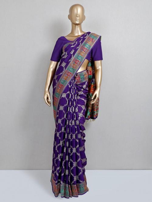 Purple Dola Silk Saree For Wedding Days