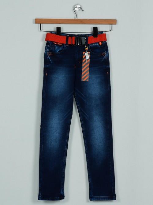 Rags Stylish Washed Dark Blue Denim Jeans For Boys