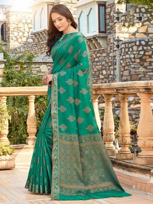Rama Green Soft Cotton Festive Saree