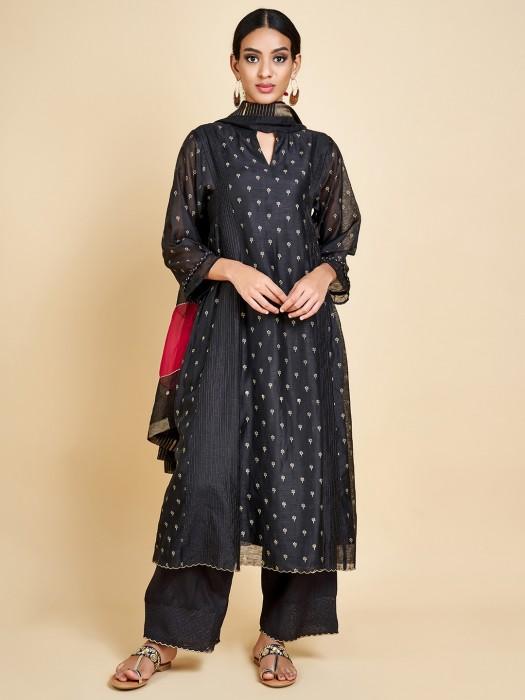 Raw Silk Black Punjabi Palazzo Suit