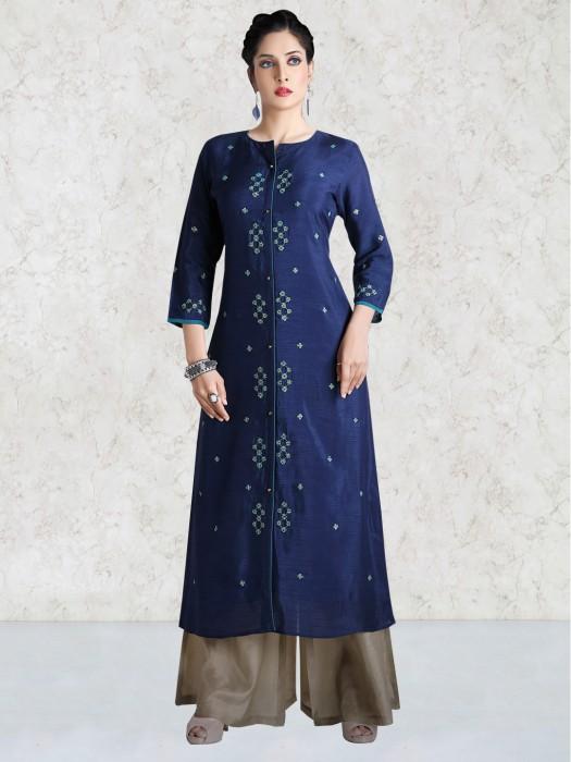 Raw Silk Blue Kurti