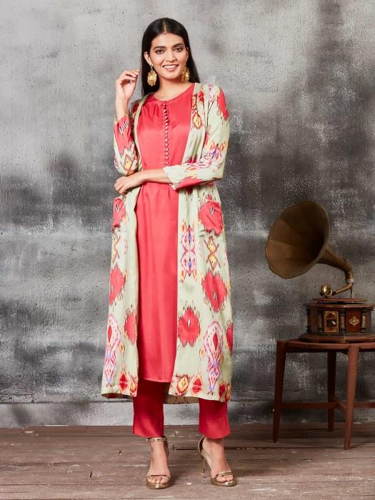 Raw Silk Printed Red Punjabi Salwar Suit With Jacket