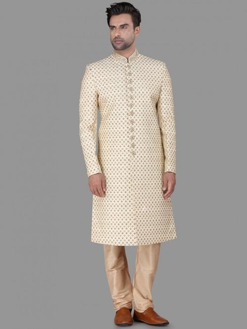 Raw Silk Wedding Wear Cream Sherwani