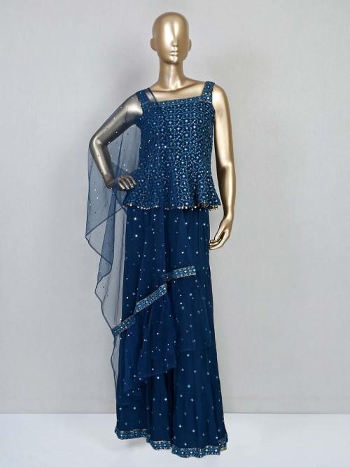Reception Wear Blue Georgette Sharara Suit