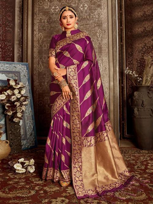 Reception Wear Handloom Banarasi Silk Saree In Purple