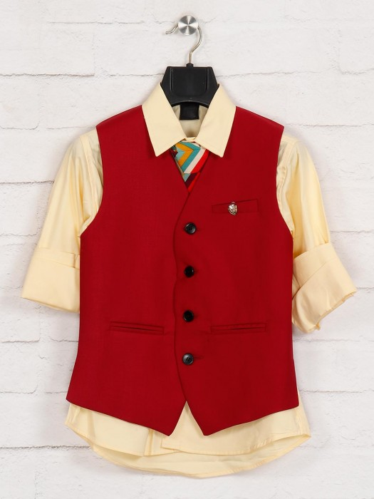 Red And Yellow Terry Rayon Mens Waistcoat