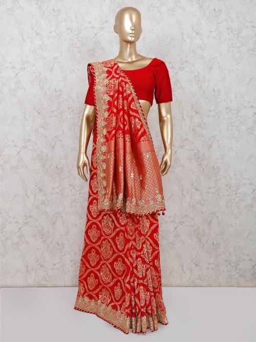 Red Banarasi Silk Reception Session Saree