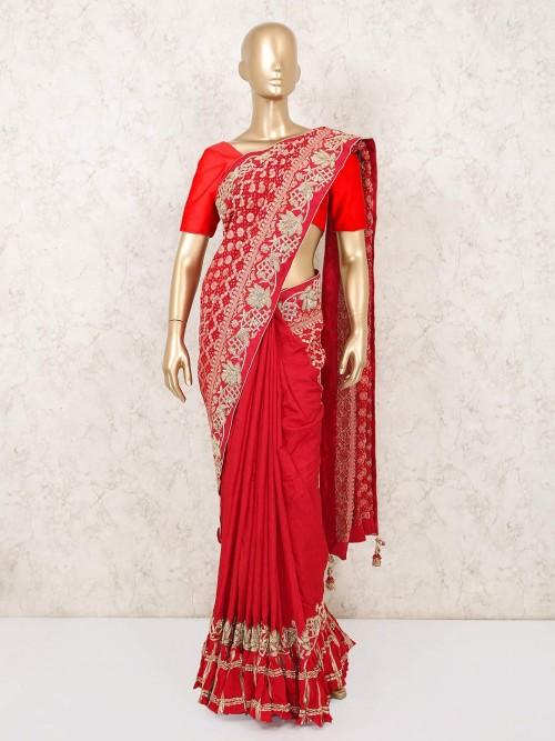 Red Bridal Bandhej Saree