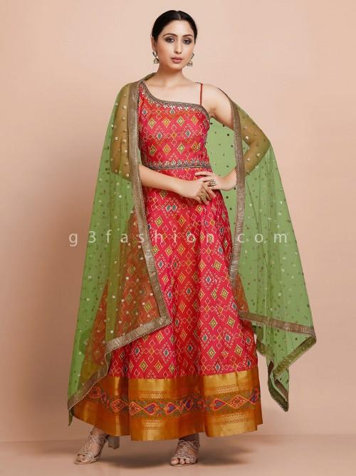 Red Designer Kurti With Dupatta In Patola Silk For Wedding