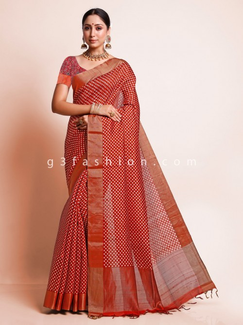 Red South Silk Festive Wear Saree