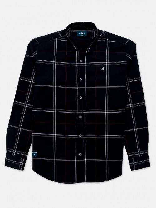 River Blue Checks Black Cotton Shirt
