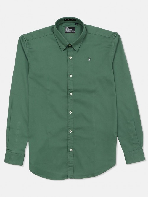 River Blue Green Color Solid Shirt For Mens