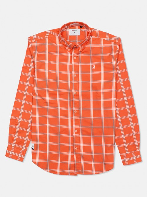 River Blue Orange Checks Cotton Mens Shirt