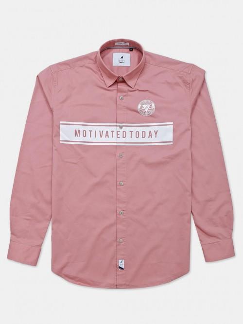 River Blue Peach Cotton Printed Shirt