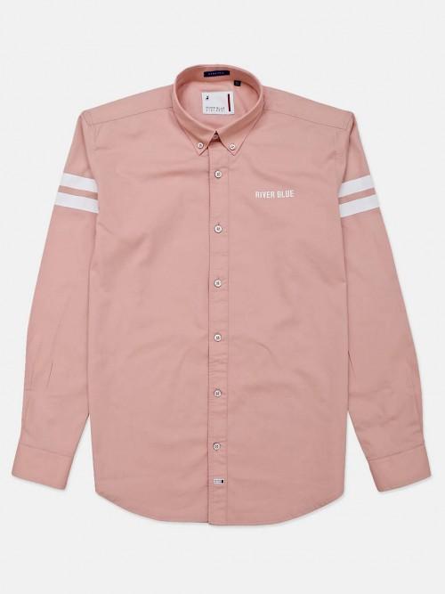 River Blue Peach Solid Slim Fit Shirt