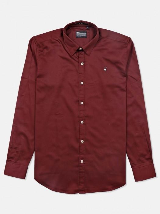 River Blue Presented Wine Maroon Shirt