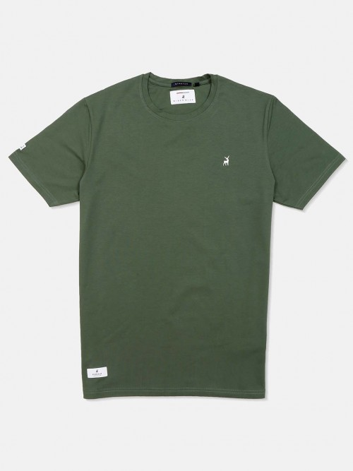 River Blue Round Neck Solid Green T-shirt