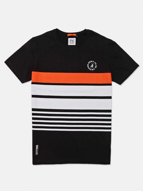 River Blue Round Neck Stripe Black T-shirt