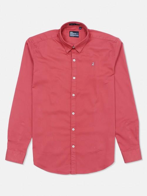 River Blue Rust Orange Casual Wear Solid Shirt