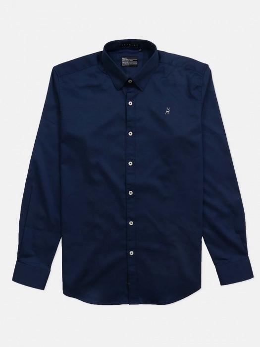 River Blue Slim Collar Navy Solid Shirt