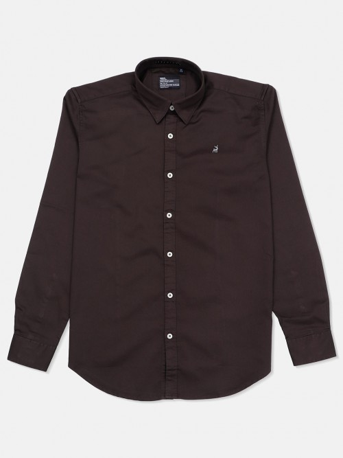 River Blue Solid Slim Fit Casual Dark Brown Shirt
