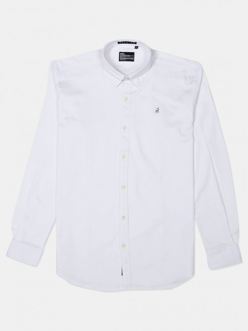 River Blue White Slim Fit Solid Shirt