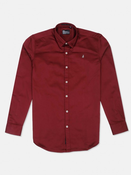 River Blue Wine Maroon Solid Shirt